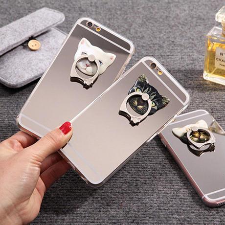 [KS086] ★ iPhone 6 / 6Plus / 7 / 7Plus ★ シェル型 ケース ネコ の リング スタンド 背面ミラー