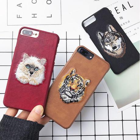 [NW292]★ iPhone 6 / 6s / 6Plus / 6sPlus / 7 / 7Plus / 8 / 8Plus ★ シェルカバー ケース 刺繍  オオカミ トラ ネコ ウマ