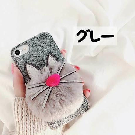 [MD111]  ★ iPhone 6 / 6s / 6Plus / 6sPlus / 7 / 7Plus / 8 / 8Plus / X ★ シェルカバー ケース ネコ ポンポン ファー 可愛い