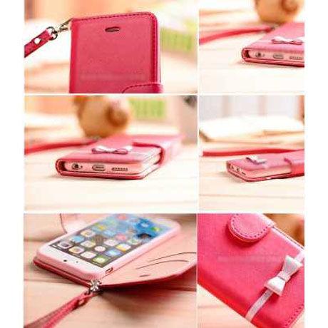 b2519209e9 ... 【TH050】☆ iPhone 6 / 6 plus ☆ リボン ライン 付き レザー 手帳 タイプ ...