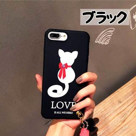 [MD261] ★ iPhone 6 / 6s / 6Plus / 6sPlus / 7 / 7Plus / 8 / 8Plus / X ★ シェルカバー ケース ネコ リボン LOVE 可愛い