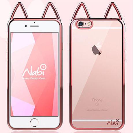 【AO064】★ iPhone7 / 7Plus ★ ネコ耳付き iPhone ソフトケース クリア かわいい 女の子 おすすめ