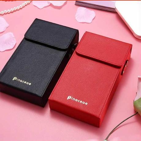[MD224]  iPhone  ポーチ型ケース レザー調 ロングストラップ カードケース ウォレット 可愛い 便利 ワンポイント シンプル
