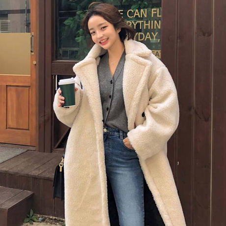 もこもこ ボアコート ゆったりオーバーサイズ ロング丈 大人可愛い あったかい アウター 韓国 ファッション オルチャン 0189