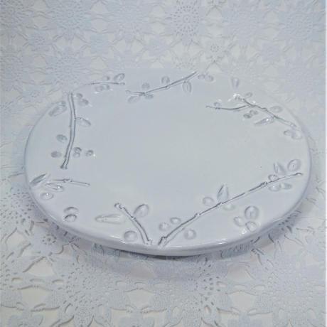 【イタリア陶器】ラ・セラミカ フラワープレート16 ホワイト【縁取りがナチュラルでおしゃれ】