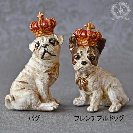 【置物、インテリア】クラウンドック【犬、犬好き、アンティーク雑貨、フレンチブルドッグ、パグ】