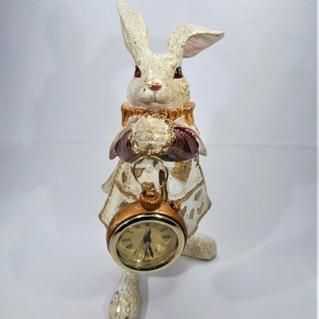 【不思議の国のアリス】バロックラビットアリスクロック【ウサギ好き、時計、置物、アンティーク、母の日】