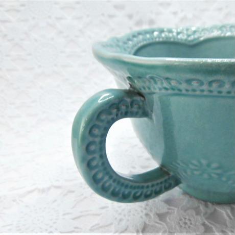 【イタリア製】ラ・セラミカ カップ&ソーサ/ブルー【ラテにちょうどいいサイズです!】