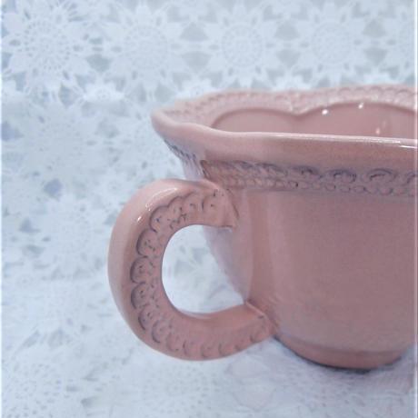 【イタリアでハンドメイド】ラ・セラミカ カップ&ソーサ/ピンク【ピンク可愛い好きさんにはたまりません♪】