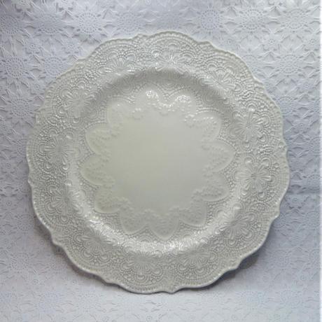 【ハルモニア欠品】ラ・セラミカ クリームレースプレート28 クリーム
