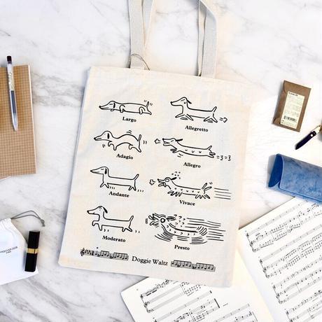 音楽トートバッグ-犬の音楽用語 音楽雑貨