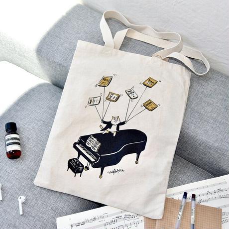 音楽トートバッグ-ピアノ演奏|音楽雑貨