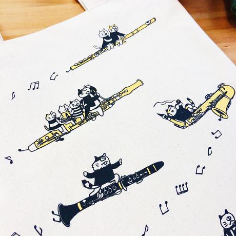音楽トートバッグ-木管音楽猫|音楽雑貨