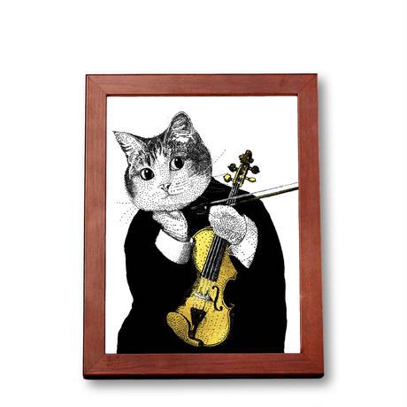 クラシックキャット肖像画  -  バイオリン 音楽雑貨
