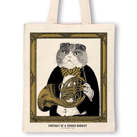 クラシックキャットトートバッグ-ホルン|音楽雑貨
