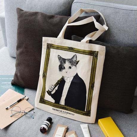 クラシックキャットトートバッグ-クラリネット 音楽雑貨