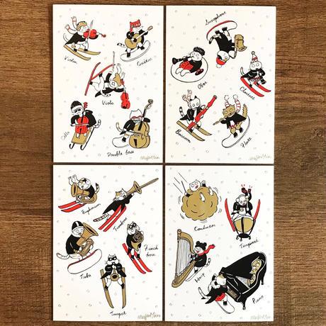 クラシックキャット四季はがき-冬(4枚入り)|音楽雑貨