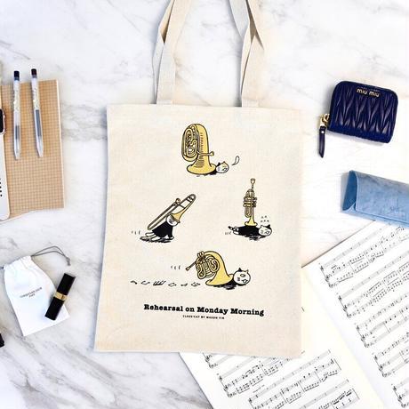 音楽トートバッグ-金管音楽猫|音楽雑貨