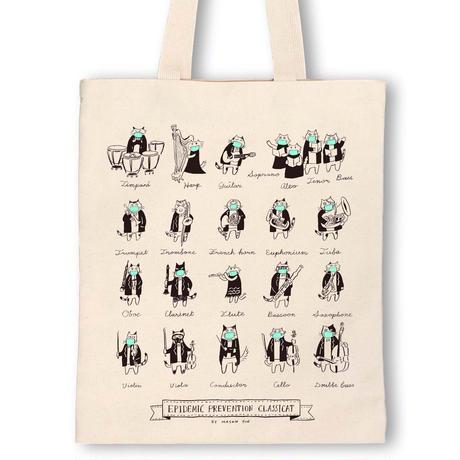 洋楽器-防疫音楽猫トートバッグ|音楽雑貨