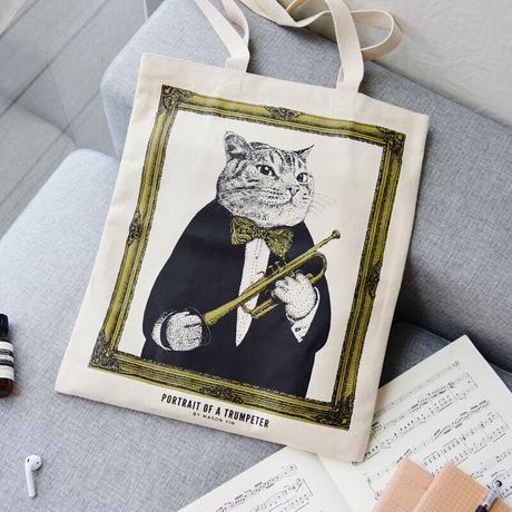 クラシックキャットトートバッグ-トランペット 音楽雑貨