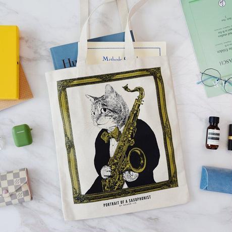クラシックキャットトートバッグ-サックス|音楽雑貨