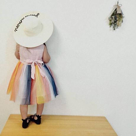☺︎kids☆カラフルデザインタンクチュールワンピース【ピンク】