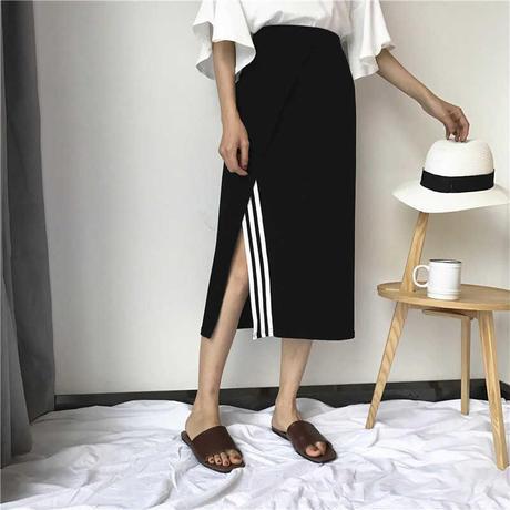 ☺︎レディース★スリットラインデザインロング丈スカート【ブラック】