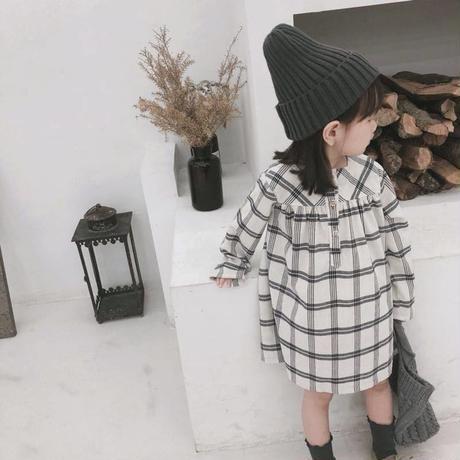 kids☻チェック柄デザインシャツワンピース【ブラック】