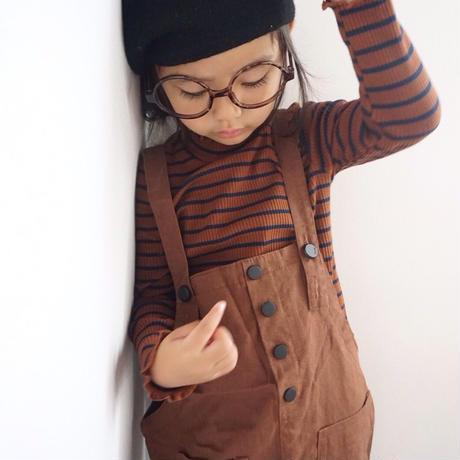 ☺︎kids☻ネック&袖フリルデザインリブボーダートップス【ブラウン】