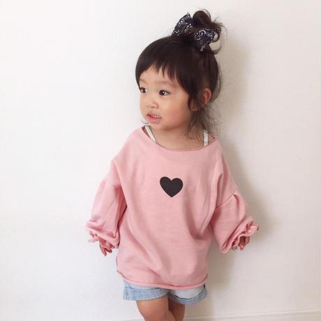 kids☻ハートプリントが可愛いオフショルトップス【ピンク】