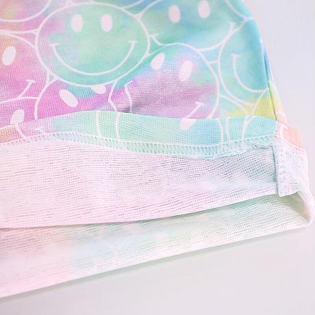 再入荷☺︎90サイズのみkidsユニセックス【90-140】ニコちゃん総柄タイダイ柄トップス【ピンク】#1104
