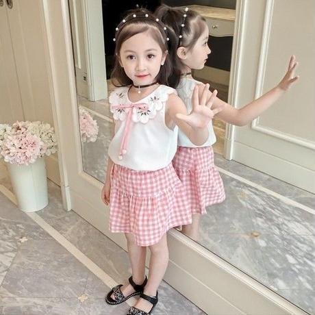 ☺︎kids【セットアップ】フリルデザイントップス+ギンガムチェック柄スカート