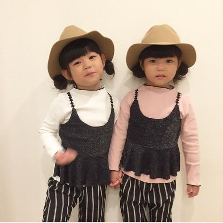 kids☻肩紐が可愛いキャミデザイントップス【ピンク・ホワイト】