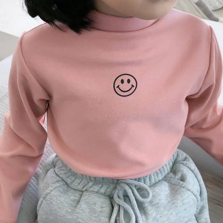 【小さめ】kidsユニセックス【90-140cm】☺︎ニコちゃんプリント微起毛あったかトップス【ピンク】#866
