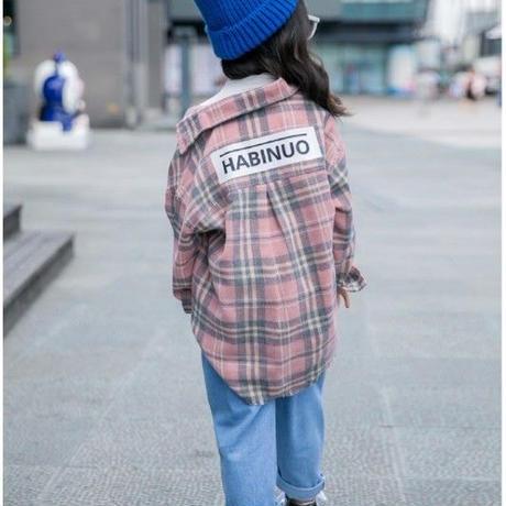 再再入荷★kids☻チェック柄デザインシャツ【ピンク】#320