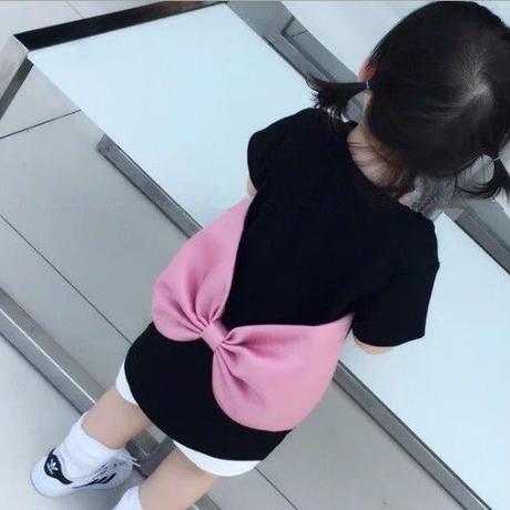 ☺︎kids☻バックBIGリボンデザイン無地Tシャツ【ブラック】