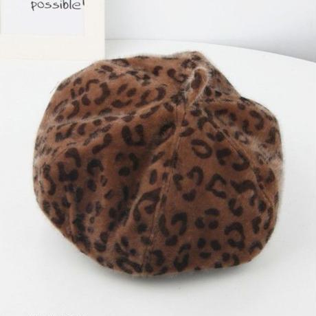 kids☻レオパード柄ファーベレー帽子【ブラウン】