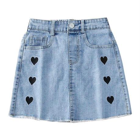 kids【110-160】ハートデザインデニムスカート#1124