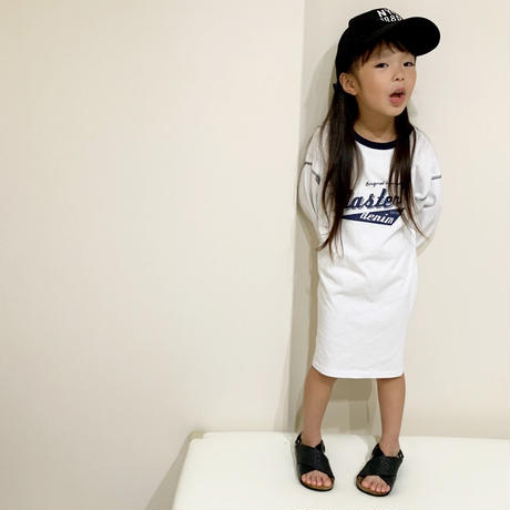 kids☻英字デザインシンプルワンピース【ホワイト】#347