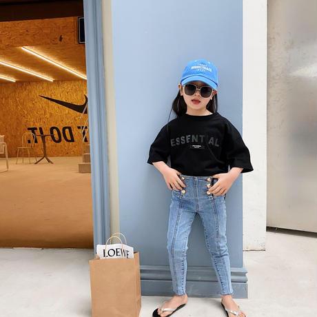 再入荷☺︎kids【90-140】ハイウエストボタンデザインスキニーパンツ#1022