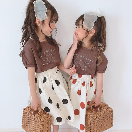 kids【90-130】ドットプリントロング丈スカート【ブラックドット】#1016