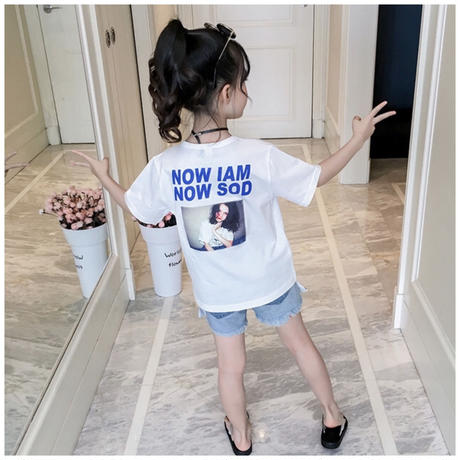 ☺︎kidsユニセックス☻英字デザインシンプル半袖Tシャツ 【ホワイト】#295