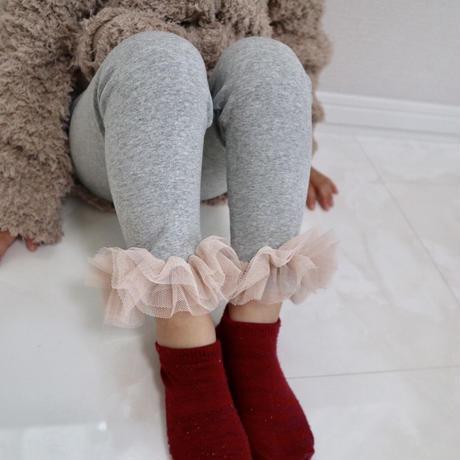 新色★kids☻裾フリルデザインシンプルレギンス【グレー】