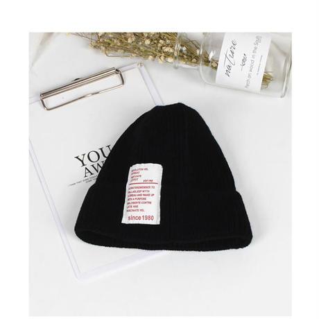 kids☻ シンプルデザインニット帽子【ブラック・グレー】#373