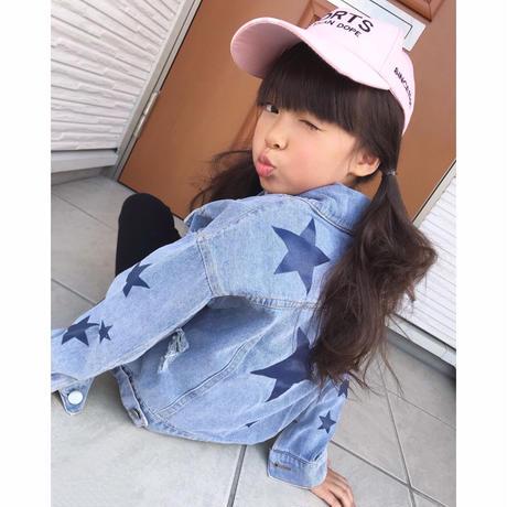 ☺︎kidsユニセックス☻星柄プリントデザインデニムジャケット #357