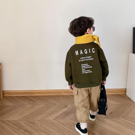 kidsユニセックス【80-140cm】☺︎英字デザイン裏起毛トップス【カーキ】#855