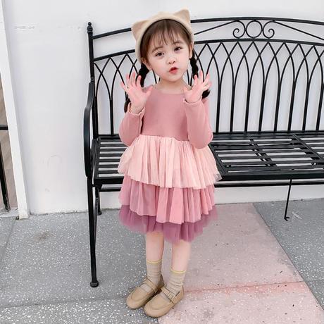 kids☻カラーデザインチュールフリルワンピース【ピンク】#371