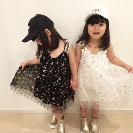 平岡様予約専用☻☆星柄デザインキラキラチュールスカートワンピース  ホワイト130