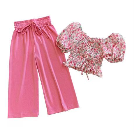 kids【100-140】パフ袖デザインショート丈トップス+リブワイトパンツ【ピンク】#1011