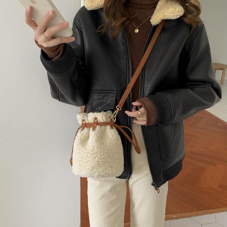 【2color】2wayボアデザイン巾着バック